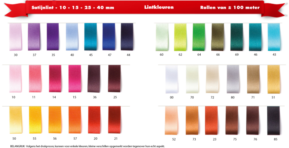 Satijnlint kleurenkaart 10 - 15 - 25 - 40 mm
